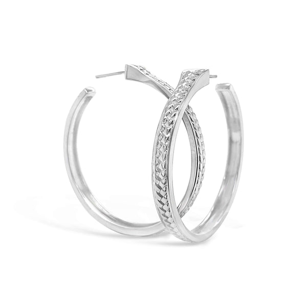 large scale sterling silver woven herringbone hoop earring