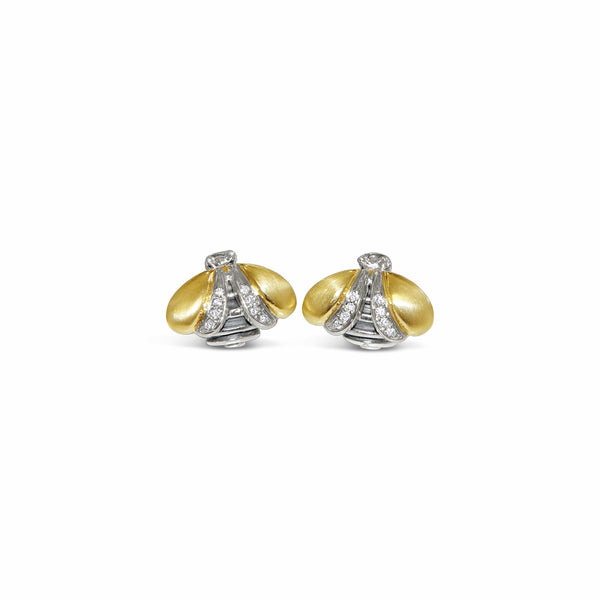 bee earring with gold wings and diamond wings