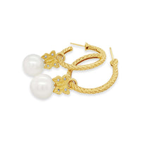 hoop earrings with a pearl