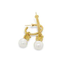hoop earrings with pearl drop