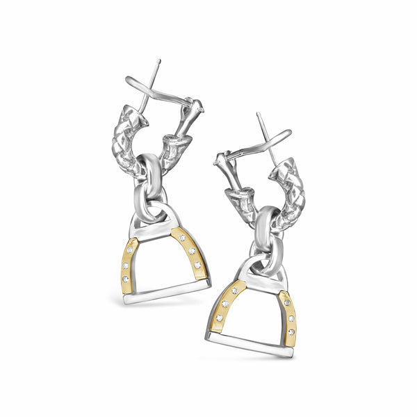 horse bit earring with diamonds