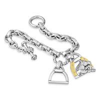 Horse Bracelet | Silver & Gold Churchill Downs Bracelet with Diamonds