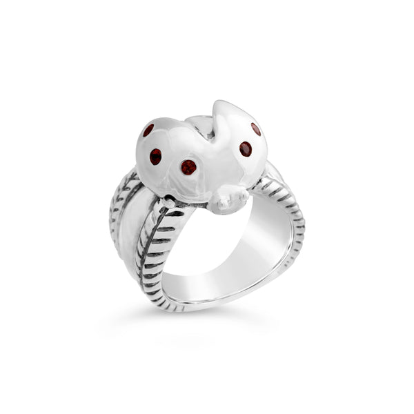 silver ladybug ring with garnet