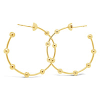 modern 18k gold ball wire hoop earring
