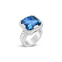 sterling silver basket weave ring with very large square cut blue topaz gemstone