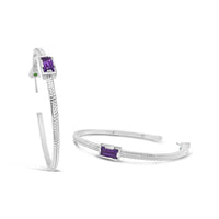 large sterling silver thin herringbone hoop earring with amethyst baguettes