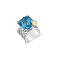 london blue topaz ring with gold bee
