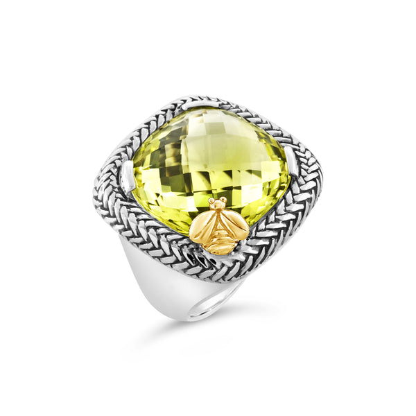 yellow citrine ring with bee