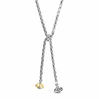 lariat necklace with bees gold and silver