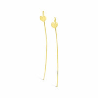 18k gold long thin wire threader linear heart drop earring