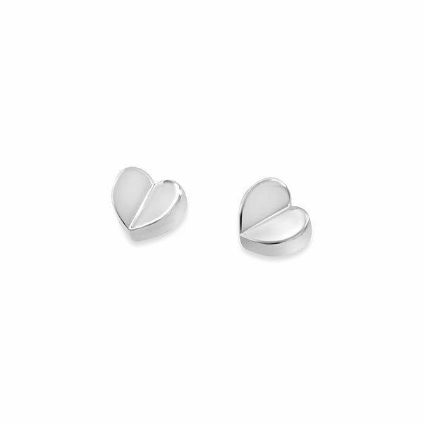 sterling silver small petite love heart stud earrings