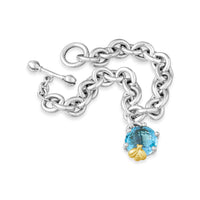 london blue topaz bracelet with gold bee