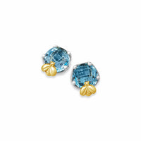 blue topaz earring with gold bee