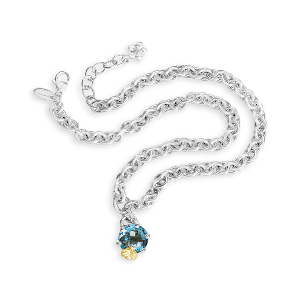 london blue topaz necklace with gold bee