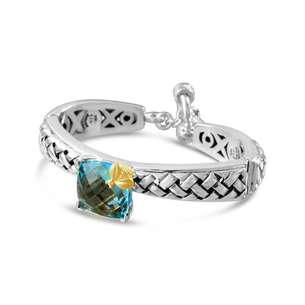 silver blue topaz bracelet with gold bee