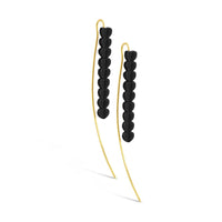 blackened silver and 18k gold long threader linear heart wire drop earrings