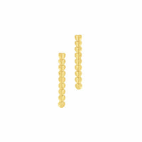 pierced 18k gold thin multi heart linear dangle drop earring