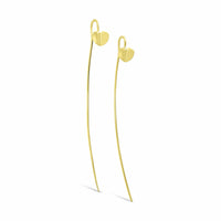 long narrow linear drop gold heart earrings