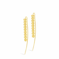 18k gold long threader linear heart wire drop earrings