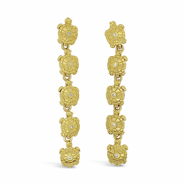 long gold turtle earrings