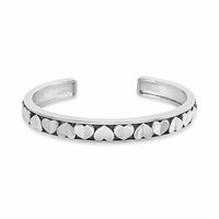 repeating heart pattern narrow cuff bracelet sterling silver