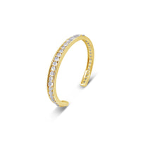 narrow moonstone split back cuff bracelet in 18k yellow gold