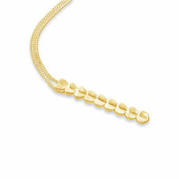 18k gold multi heart linear drop bar pendant necklace on thin chain