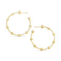 large thin 18k gold ball wire hoop earring