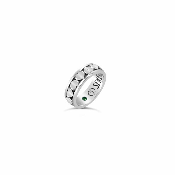 narrow love heart ring with multi heart pattern sterling silver