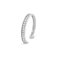 very large white diamonds on narrow 18k white gold bracelet cuff
