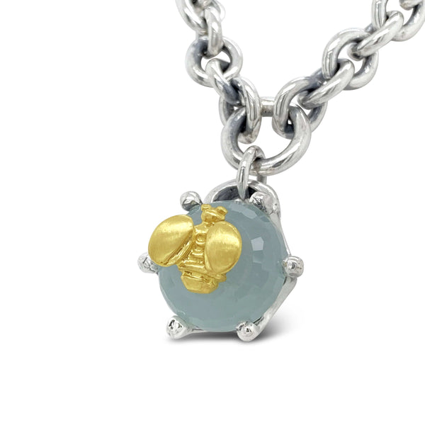 necklace with aquamarine birthstone