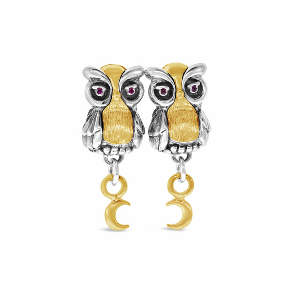 owl earrings with gold half moon earrings