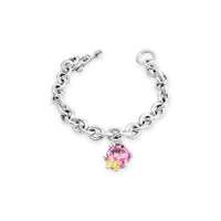 pink topaz bracelet with gold butterfly