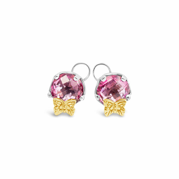 pink topaz earrings with gold butterfly