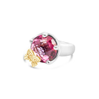 pink topaz ring with gold butterfly