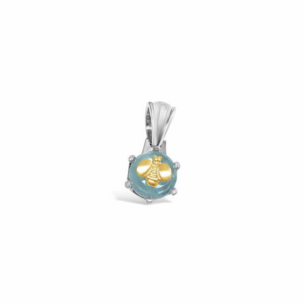 aquamarine pendant with gold bee