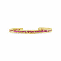 thin pave ruby birthstone bangle cuff in 18k yellow gold