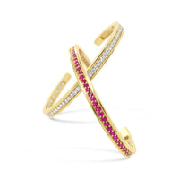 ruby and diamond birthstone open back cuff bracelets