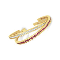 thin ruby and diamond birthstone cuff stack bracelets