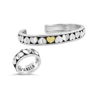multi love heart cuff bracelet and matching ring with one gold heart