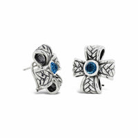 silver cross earrings blue topaz
