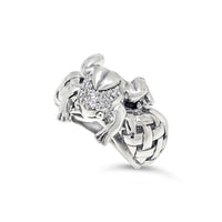silver frog ring diamonds