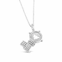 silver key pendant guardian angel pendant