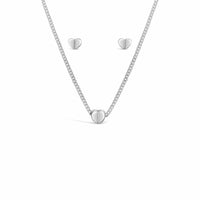 sterling silver heart necklace and pierced heart earring set