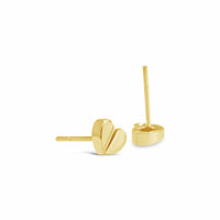 tiny 18k gold love heart earring studs