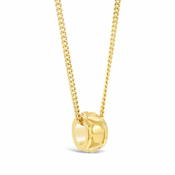 small heart rondelle pendant on chain 18k yellow gold