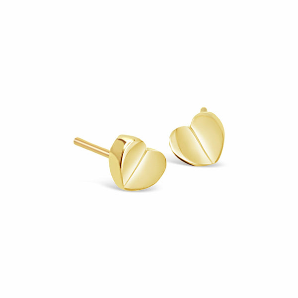 18k gold small petite love heart stud earring
