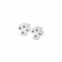 small cross earring studs