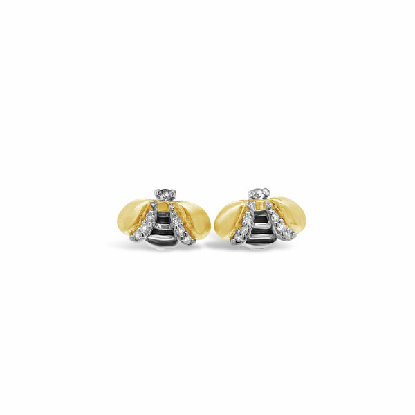 small diamond bee earrings