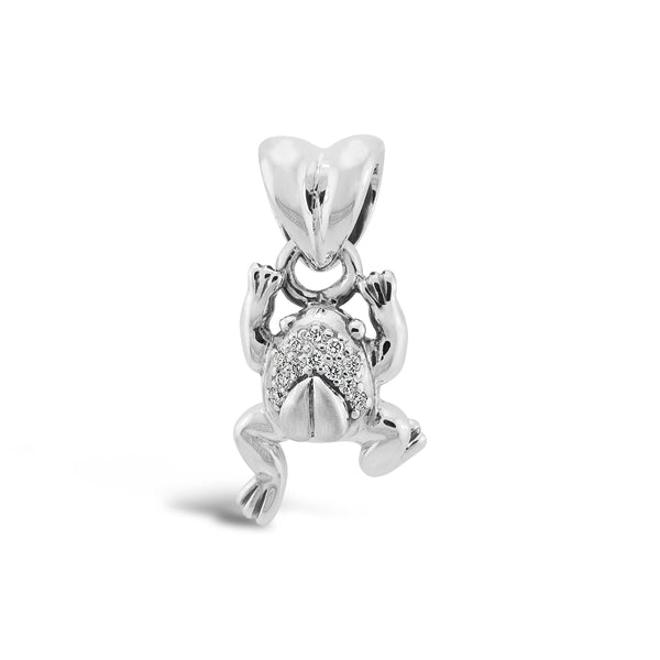 small silver and diamond frog charm